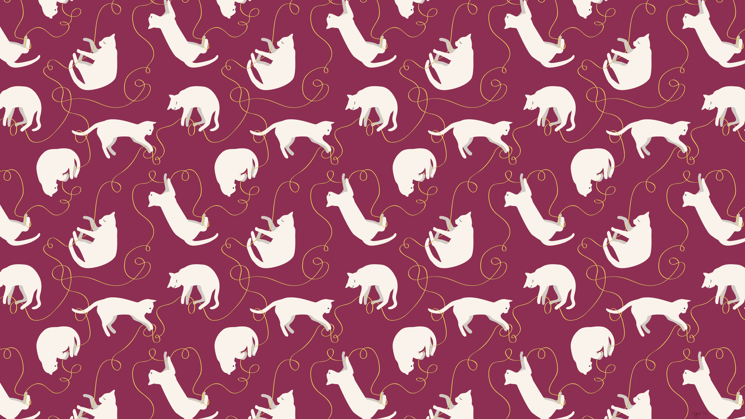 Cat pattern red — 2560x1440 , iPad retina